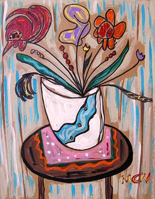 Primitive Drawing - Pink Underneath by Mary Carol Williams