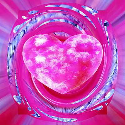Digital Art - Pink Valentine Heart by rd Erickson