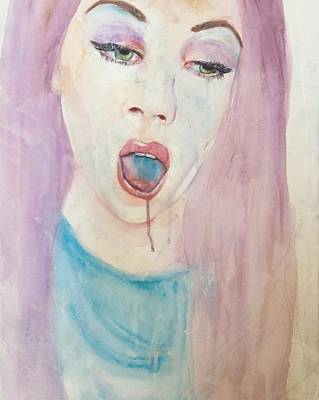 Pink Lips Drawing - Pink by Valeria Montes