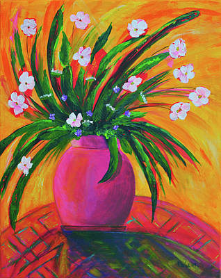 Painting - Pink Vase In Warm Afternoon by Haleh Mahbod