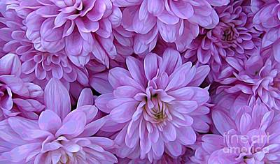 Mixed Media - Pink Violet Mums Melting Colors Effect by Rose Santuci-Sofranko