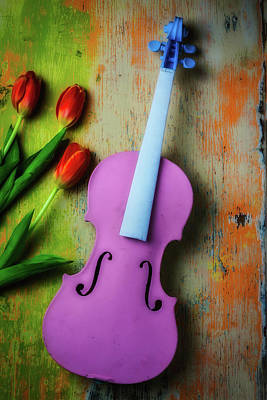 Pink Violin And Tulips Art Print by Garry Gay