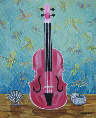 Pink Violin With Fireflies And Shells Still Life Art Print by John Keaton