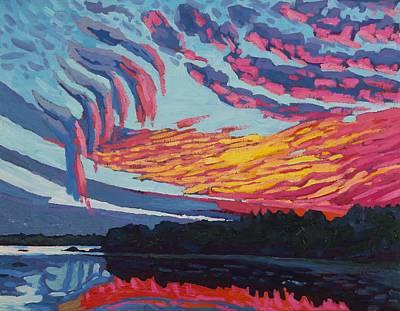 Pink Virga Sunset Art Print by Phil Chadwick