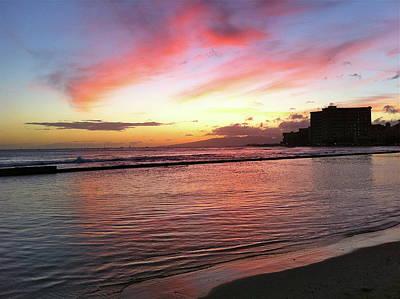 Photograph - Pink Waikiki Sunset by Erika Swartzkopf