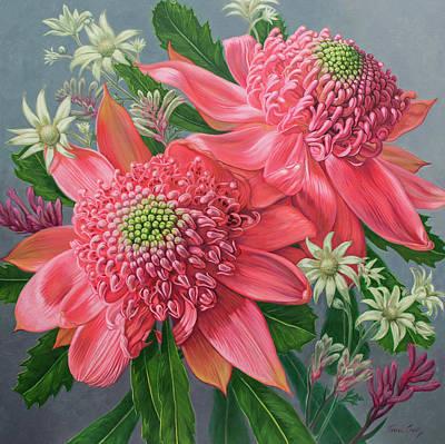 Australian Native Painting - Pink Waratahs, Flannel Flowers And Kangaroo Paws by Fiona Craig