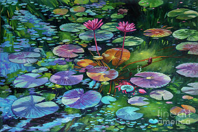 Ornamental Painting - Pink Water Lilies And Lily Pads by John Clark