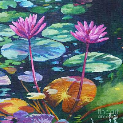 Acrylics Painting - Pink Water Lilies Square by John Clark