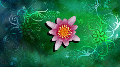 Photograph - Pink Water Lily On Green Background by Gary Crockett
