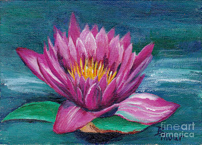 Pink Water Lily Original Painting Art Print by Brenda Thour