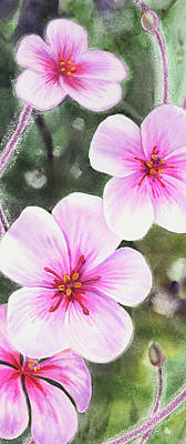 Royalty-Free and Rights-Managed Images - Pink Watercolor Flowers Vertical Format by Irina Sztukowski