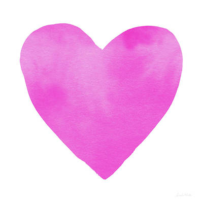 Bright Pink Mixed Media - Pink Watercolor Heart- Art By Linda Woods by Linda Woods