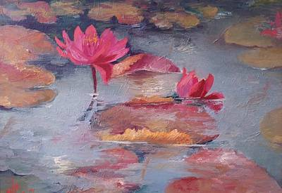 Waterscape Painting - Pink Waterlilies by Vali Irina Ciobanu