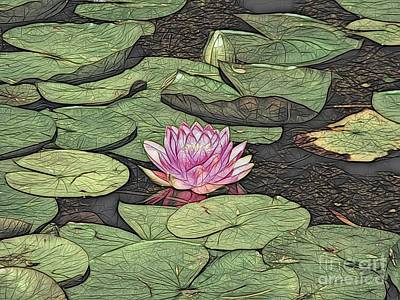 Photograph - Pink Waterlily Abstract Color Sketch Effect by Rose Santuci-Sofranko