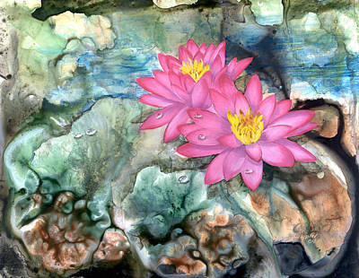 Art Print featuring the painting Pink Waterlily by Sherry Shipley
