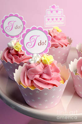Pink Wedding Cupcakes  Art Print by Milleflore Images