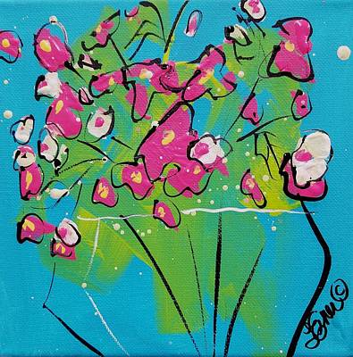 Painting - Pink  White Sweetpeas by Terri Einer