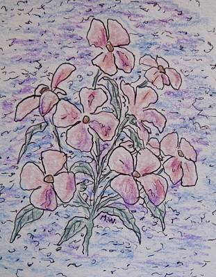 Drawing - Pink Wildflowers by Megan Walsh