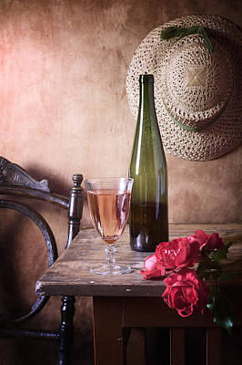 Pink Wine And Roses Art Print