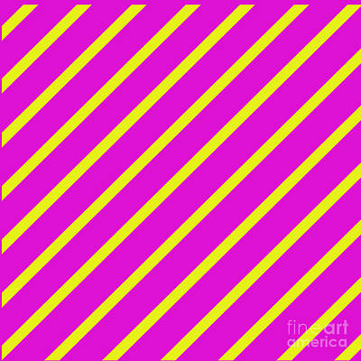 Digital Art - Pink Yellow Angled Stripes by Susan Stevenson