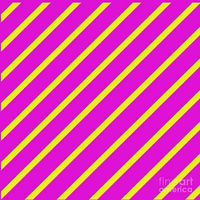 Digital Art - Pink Yellow Angled Stripes by Susan Stevenson