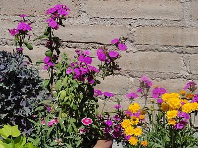 Photograph - Pink Yellow Green Flowers Brick  by Mozelle Beigel Martin