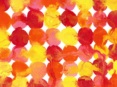 Painting - Pink Yellow Red Orange Flowing Paint Circle Pattern 2 by Amy Vangsgard