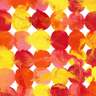 Painting - Pink Yellow Red Orange Flowing Paint Circle Pattern by Amy Vangsgard