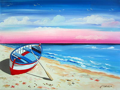 Painting - Pinkish Sunset And Boat by Roberto Gagliardi
