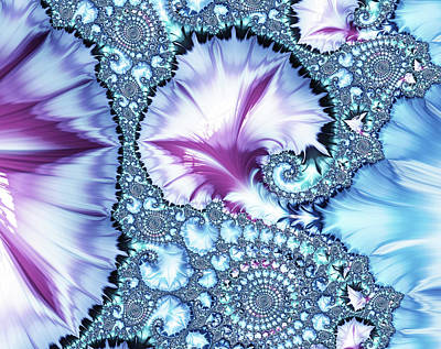Digital Art - Pinks And Blues Abstract by Georgiana Romanovna