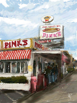 Los Angeles Mixed Media - Pinks by Russell Pierce