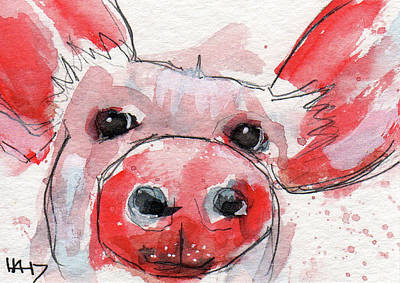 Piglets Mixed Media - Pinky Piggy by Heather Adams