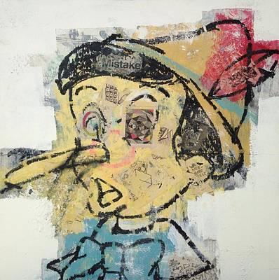 Grunge Skull Painting - Pinocchio  by Matt Cox