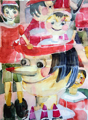 Woden Wall Art - Painting - Pinocchios In The Window Reflections by Mindy Newman