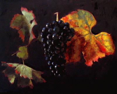 Pinot Noir Grape With Autumn Leaves Art Print by Takayuki Harada