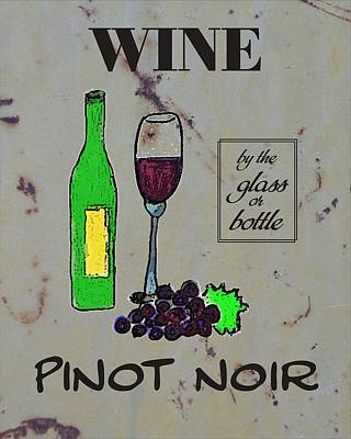 Glass Wall Drawing - Pinot Noir Wine  by Priscilla Wolfe