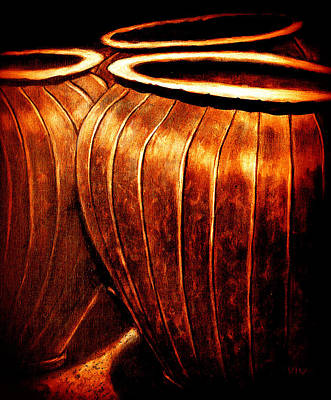 Painting - Pinstripe Copper Pots by VIVA Anderson