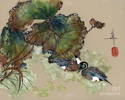 Waterfowl Painting - Pintails In Lotus Pond by Linda Smith