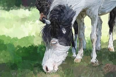 Breed Digital Art - Pinto Pony And Baby by Debra Baldwin