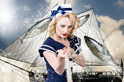 Pinup American Military Girl Pulling Sea Anchor  Art Print by Jorgo Photography - Wall Art Gallery