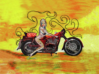 Painting - Pinup Girl Biker With Tattoo Sign by Tom Conway