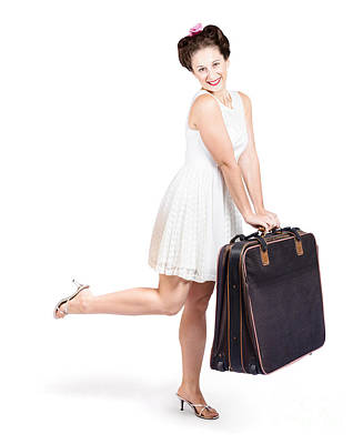Exuberant Photograph - Pinup Model Doing A Hop And Skip With Travel Case by Jorgo Photography - Wall Art Gallery
