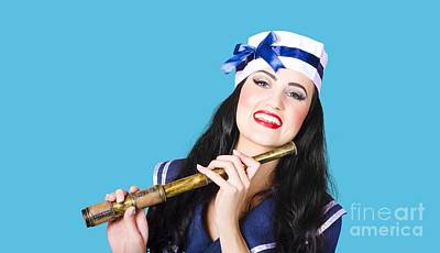Outlook Photograph - Pinup Sailor Girl Holding Telescope by Jorgo Photography - Wall Art Gallery