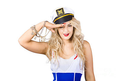 Silver Necklace Photograph - Pinup Sailor Woman Saluting In Captains Hat by Jorgo Photography - Wall Art Gallery