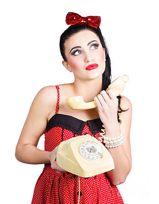Pinup Woman Chatting On Yellow Telephone Art Print