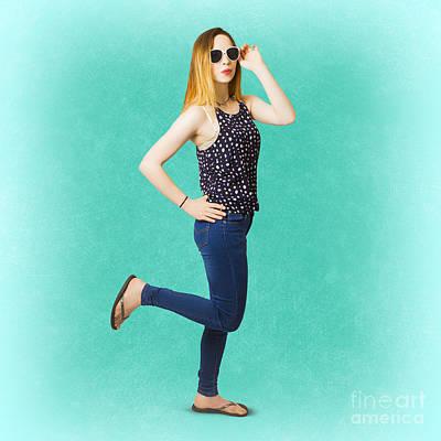 Pinup Women In Blue Jeans Art Print