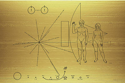 Digital Art - Pioneer 10-11 Golden Plaque by Serge Averbukh