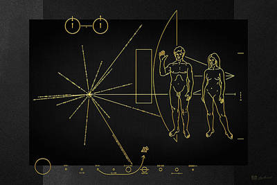 Digital Art - Pioneer 10-11 Plaque On Black Canvas by Serge Averbukh