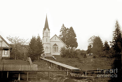 Photograph - Pioneer Church Is A Historic Church On Alley Street In Cathlamet Wash. Cica 1895 by California Views Mr Pat Hathaway Archives