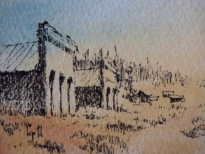 Drawing - Pioneer Ghost Town Montana by Kevin Heaney
